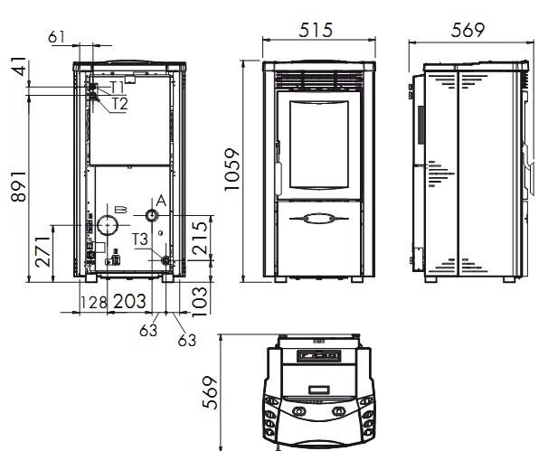 Termo poêle à pellet Fedora Idro dimensions