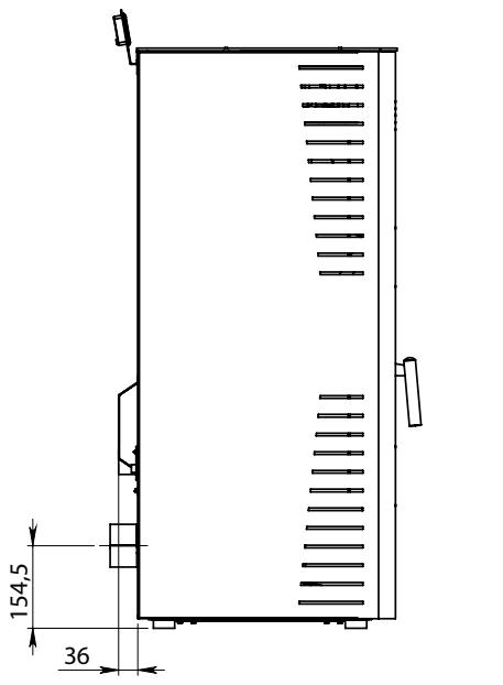 Elettra Evo Plus poêle a pellet dimensions 2